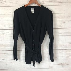 Chico's silk blend black ribbed cardigan sweater 2